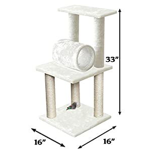 """33"""" White Pet Cat Tree Play Tower Bed Furniture Scratch Post Tunnel Toy Mouse"""