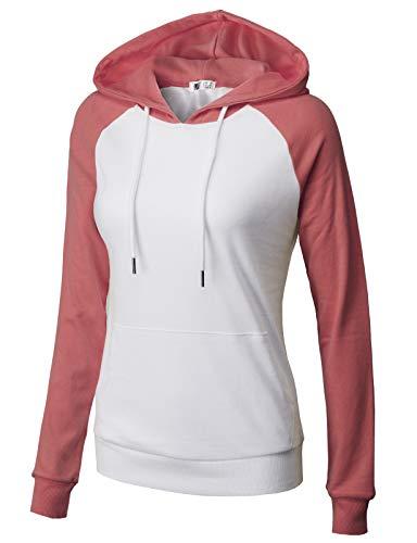 H2H Women's Casual Color Stitching Raglan Sleeve Hoodies Pullover Sweatshirts WHITEROSEPINK US S/Asia S (CWOHOL033)