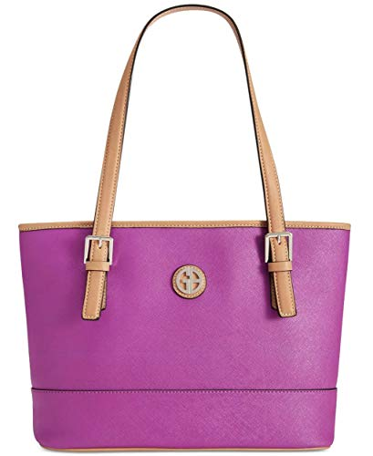 Giani Bernini Womens Saffiano Faux Leather Shopper Tote Handbag Purple Large