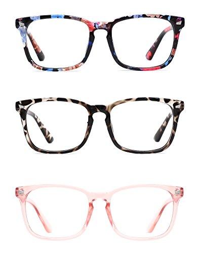 6a38dacf7b TIJN Unisex Wayfarer Non-prescription Glasses Frame Clear Lens Eyeglasses  3-Pack (K