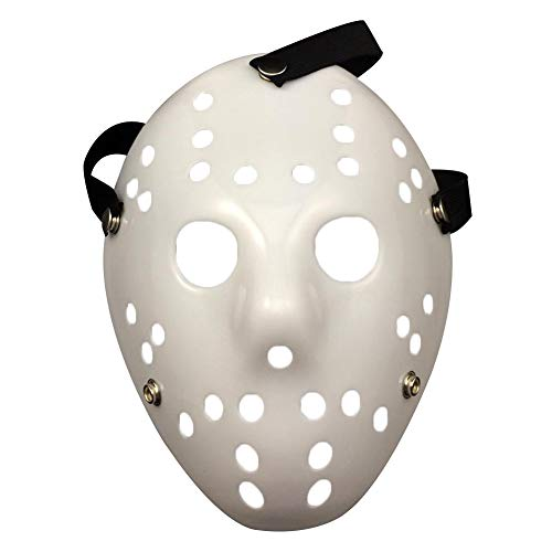 Hockey Mask Scary Halloween Mask Horrific Scary Full Face Masquerade Fancy Lightweight Mask(White) -