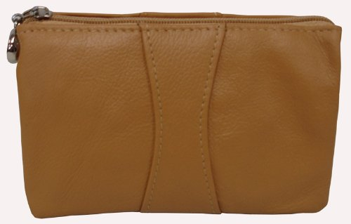 Mini Zip Leather Wristlet (526-0137) (tan), Bags Central