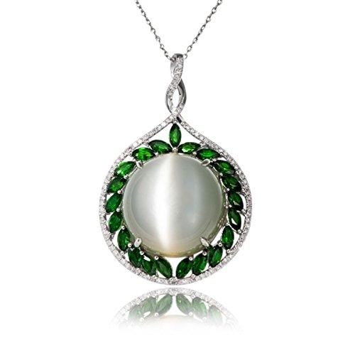 Hutang 41CT Naturel Pierre précieuse Pierre de Lune et chrome Diopside et diamant Or blanc 18ct Pendentifs et colliers pour femme fine bijoux