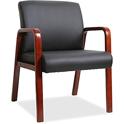 Lorell LLR40200 Black Leather Wood Frame Guest Chair-Bonded Seat