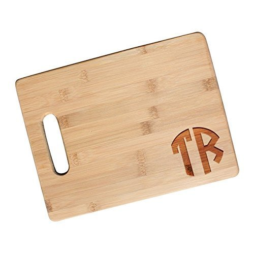Two Initial Block Monogram Cutting Board, Chef Gift, Christmas Gift for Him - JS14 (2 Monogram)