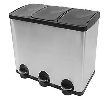 Mülleimer Küche Mülltrennung mit Inneneimer (60 Liter) -  Mülltrennungssystem - Coninx Steeldesign Küche mülleimer 3 fächer -  Treteimer Edelstahl 3* 20 ...