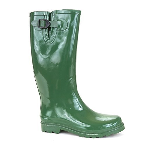 Twisted Women's Drizzy Tall Cute Rubber Rain Boots- Green, Size 11 ()