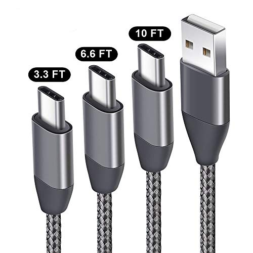 USB C Cable 3.3FT 6.6FT 10FT 3 Pack, USB A 2.0 to Type C Charger Nylon Braided Charging Cord fit Samsung Galaxy S9 S8 Plus S9+ S8+ Note 9 8 LG V30 V20 G6 G5 Google Pixel 2 XL Moto Z Z2 Nintendo Switch