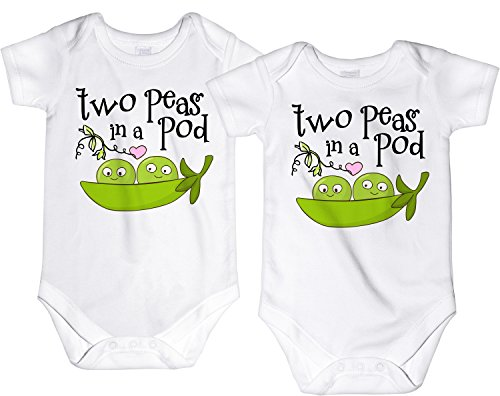 (CarefreeTees Two Peas in a Pod Twin Babies (Baby Boys Bodysuit 3M 2 W/No Lashes - SET of 2))