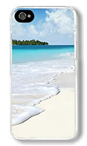 Beach Scenery Custom iPhone 4S Case Back Cover, Snap-on Shell Case Polycarbonate PC Plastic Hard Case Transparent