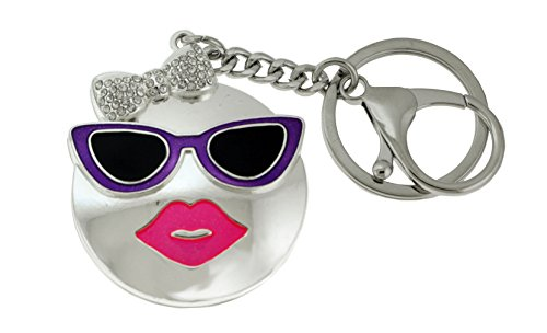 Silver-Tone Face With Purple Sunglasses And Pink Lips Emoji Keychain KEKC6260