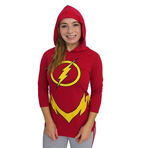 The Flash Logo Womens Hooded Raglan Costume Hoodie (XL)