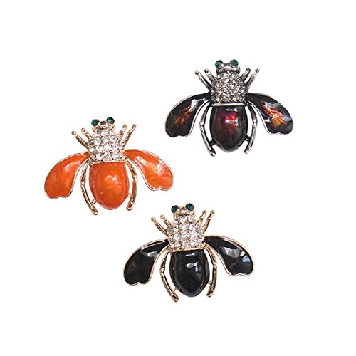 - W WOOGGE Women's Bee Brooch Pin 18K Gold Insect Alloy Beetle Crystal Rhinestone Black Orange Purple Enamel Pins for Girls 3pcs/lot