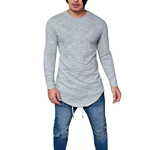 Clearance!Men Shirt Long Sleeve Slim Fit Tagless Crew Neck Muscle Tee Casual Top(Gray,Bust:34