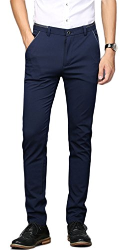 Dress Navy Slacks Blue Pants (Plaid&Plain Men's Stretch Dress Pants Slim Fit Skinny Suit Pants 7108 Blue 28W28L)