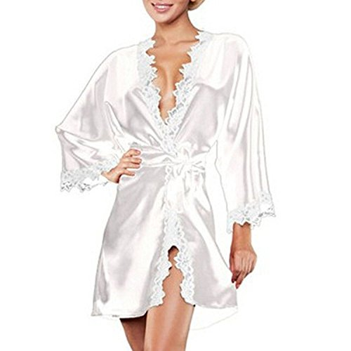 Lisli Women New Sexy Satin Silk Nightgown Lace Underwear Sleepwear Pajamas Robes Babydoll Lingerie Dress (White)