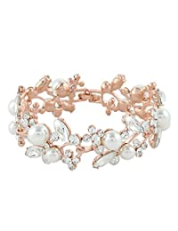 Ever Faith Lady Leaf Ivory Color Simulated Pearl Bracelet Clear Austrian Crystal
