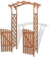 vidaXL Pérgola de jardín con puerta de entrada, decoración de patio, arco, resistente al agua, estructura de madera maciza: Amazon.es: Jardín