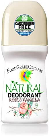 All-natural Organic Healing Detox Deodorant For Men & Women Aluminum-Free Alcohol Free No Toxins Chemicals Paleo FoodGradeOrganic Roll on (Rose and Vanilla)