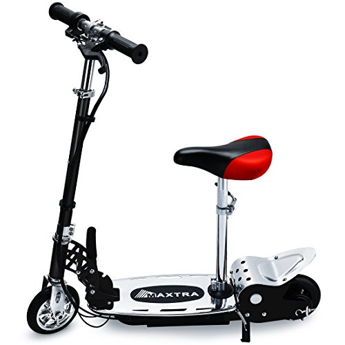 Maxtra E120 Electric Scooter with Seat 177lbs Max Weight Capacity Motorized Bike Removable Seat Black