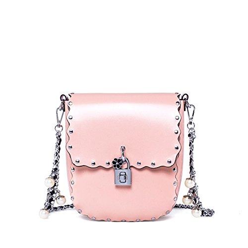 borsa borsa a con cerniera messenger Crossbody retro tracolla rosa donne Pu semplice Cvbndfe rivetti fibbia YC7xfxawq