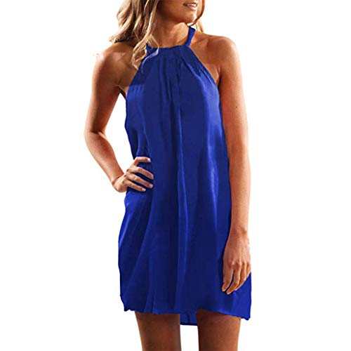 MALLOOM Women's Summer Casual Solid Color Halter Neck Sleeveless Mini Dress