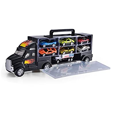 "15"" Heavy Duty Transport Car Carrier Truck Toy with 5 Pull Back Metal Cars and 7 Metal Race Cars, Bones Car Carrier and Water Truck Included By Joyin Toy"
