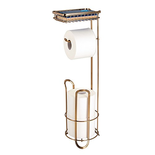 g Toilet Tissue Paper Dispenser Stand with Storage Tray - Soft Brass ()