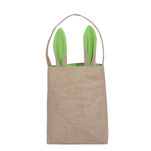 Dewel Creative Easter Gift Bag, Bunny Ears Design Easter Party Eggs Basket for Kids, Jute Cloth Material, 5 Colors for Choice (Green)