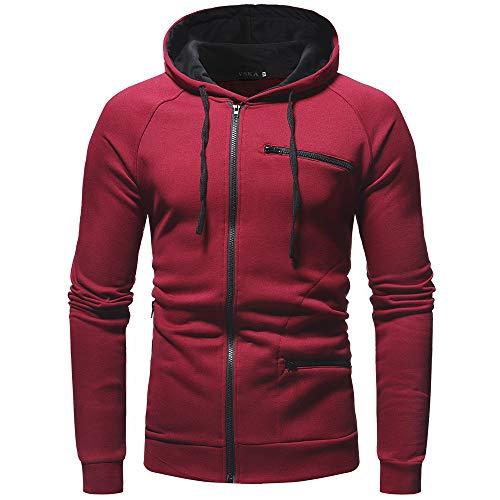Solida Outwear Casual Uomo Bhydry Cappuccio Autunno Rosso Con Lunga Cappotto Manica Felpa BvvFqIn
