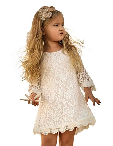 Flower Girl Dress, Lace Dress 3/4 Sleeve Dress (White, 9-10 Years)