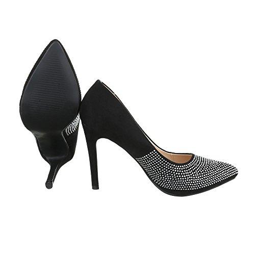 High Heel Damen-Schuhe Plateau Pfennig-/Stilettoabsatz High Heels Ital-Design Pumps Schwarz, Gr 37, Xf71-Aa-