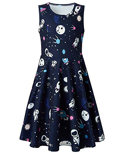 Cute Space Dresses Cartoon Spaceship Printing One Piece Black Sleeveless Skirts Funny Floral Dress Big Girls Sunny A-line Outfit Causal Sundress for 10-13 Years]()