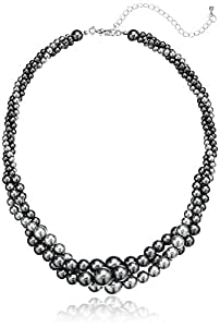 """Gold Tone Grey Simulated Three Strand Twisted Pearl Necklace, 18 + 2"""""""