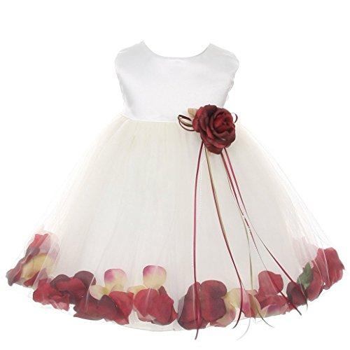 iGirlDress Baby Girls Satin Bodice Flower Pageant Petal Dress Infant 12mos Ivory/Burgundy -
