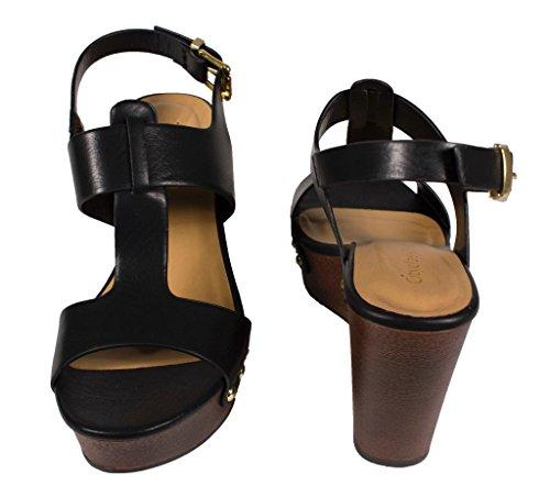 SUPPORT! Womens Peep Toe T-Strap Slingback Wedge Sandal in Black Leatherette Cirkk