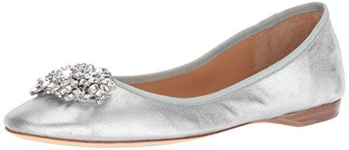 Badgley Mischka Women's Pippa Ballet Flat, Silver/Metallic Suede, 7.5 M US (Slipper Silver)
