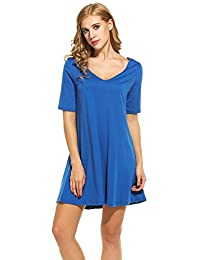Meaneor Plus Size Women's Short Sleeve Casual Loose Tunic T shit Dress for Party