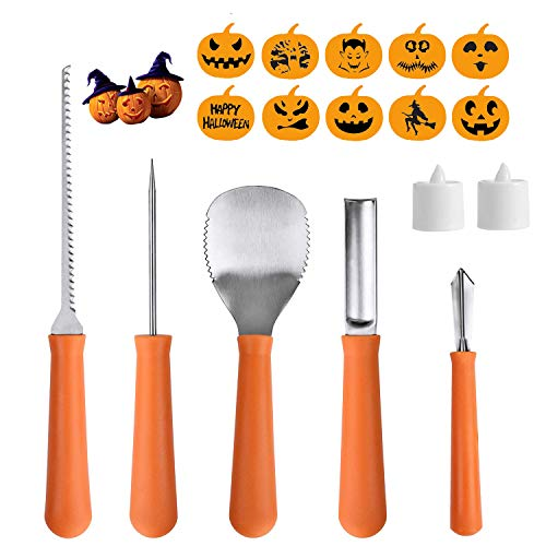 Halloween Pumpkin Carving Tools Kit 5 Piece Stainless Steel Carving Knives Set With 10 Carving Stencils & 2 LED Candles