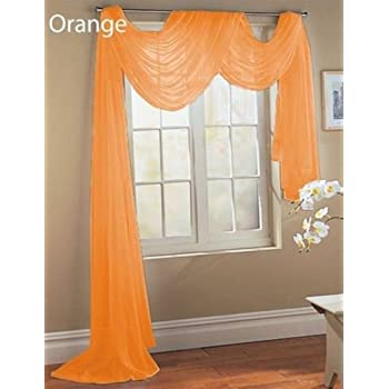 Amazon.com: 1 X Orange Elegance Sheer Scarf Valance 216'' Long ...