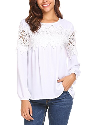 SoTeer Womens Plus Size Cotton Lace Patchwork Long Sleeve Flare Casual Blouse Top Shirts(White,M)
