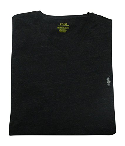 Polo Ralph Lauren Mens' Big and Tall T-Shirt Jersey V-Neck T-Shirt (Black MARL Heather, 4XLT)