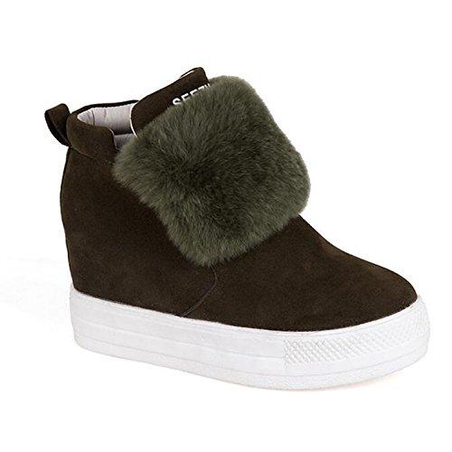 para nieve HSXZ Toe Cuero de Round de mujer Army botines de cuña de botas zapatos botines primavera de Nubuck Green talón confort botas Zapatos otoño pluma gxUtgO
