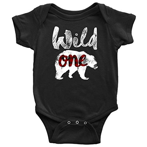 Bear Wild One 1st Birthday Boy Outfit Lumberjack Buffalo Plaid Girl Baby Bodysuit (New Born - 12-18 Months) Black