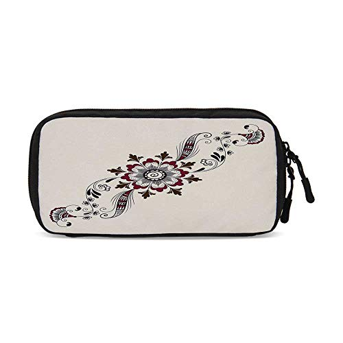 - Henna Practical Data Storage Bag,Colorful Floral Pattern Asian Mehndi Arrangement Nature Inspired Abstract Decorative for Organizing Cables,One Size