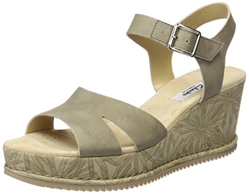 Clarks Women's Akilah Eden Wedge Heels Sandals, White Grey (Sage Nubuck)