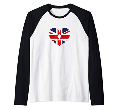 Queen Elizabeth II British Flag Heart Raglan Baseball Tee