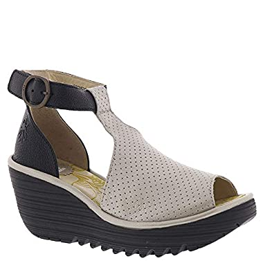 439fa842565d FLY London Womens YALL962FLY Silver Black Borgogna Mousse Sandal - 40