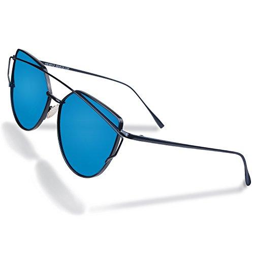 MAOVI Women Sunglasses Cat Eye Mirrored Polarized Glasses Lenses Fashion Metal Frame Goggles UV400