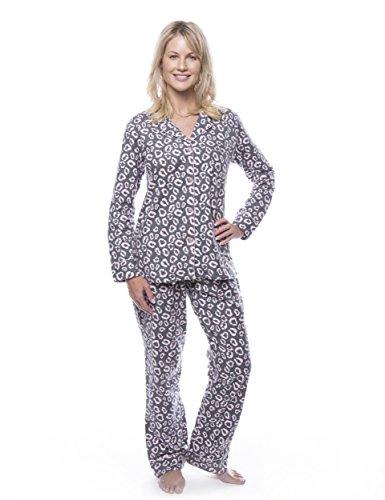 (Noble Mount Women's Cotton Flannel Pajama Set - Jaguar Grey/Pink - 2XL)